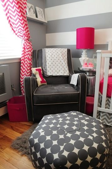 BabyGirlNursery- looks almost identical to ours. Have the ottoman poof and striped walls already....but we're using more pops of color than just pink!! LOVE***