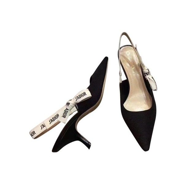 Dior Limited Edition Slingback 65mm Heels Black White Pumps ($1,399) ❤ liked on Polyvore featuring shoes, pumps, heels, heel pump, mid heel shoes, mid-heel pumps, black white shoes and mid heel slingback shoes