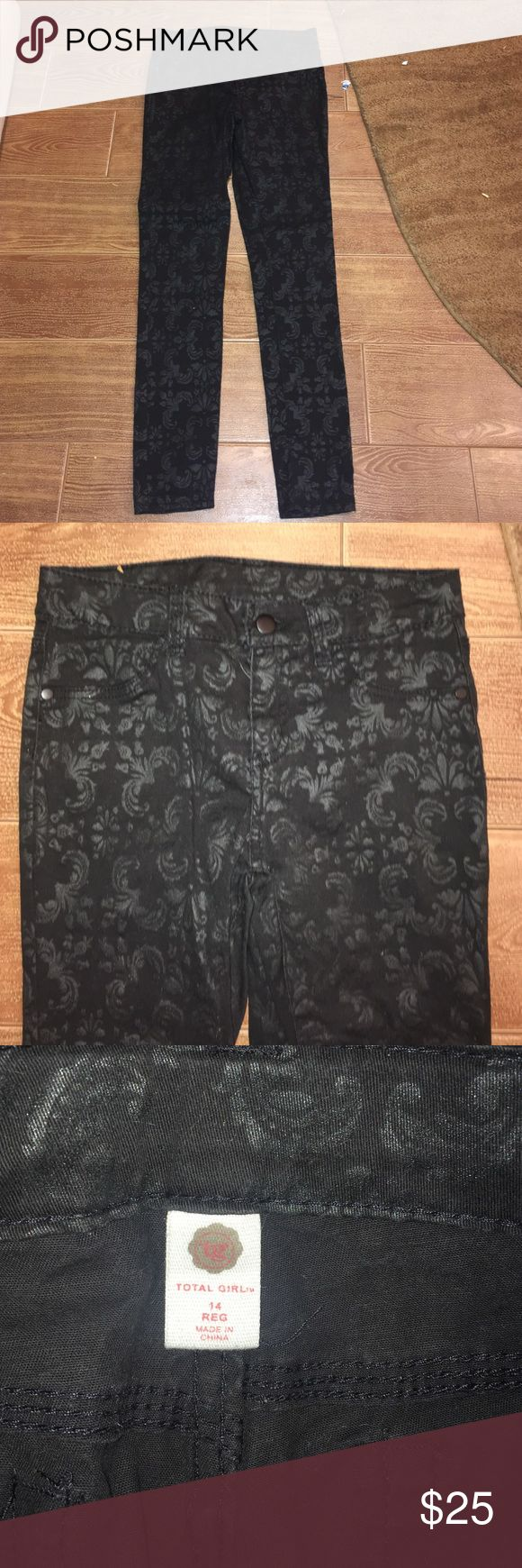 Black printed skinny jeans Black printed skinny jeans. Good condition total girl Bottoms Jeans