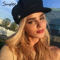 Simplee Mode noir chapeau cap femmes Casual streetwear corde casquette plate Élégant solide automne hiver chaud béret chapeau femelle 2017