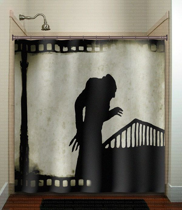 vintage film noir movie strip nosferatu shower curtain  bathroom   kid