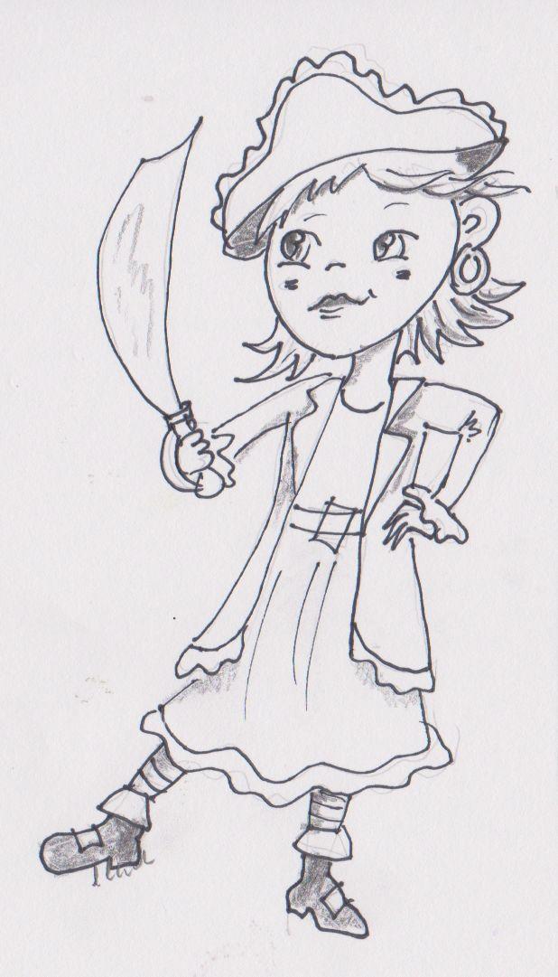 Girl with cutlass. Pencil