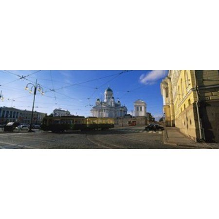 Tram Moving On A Road Senate Square Helsinki Finland Canvas Art - Panoramic Images (36 x 13)