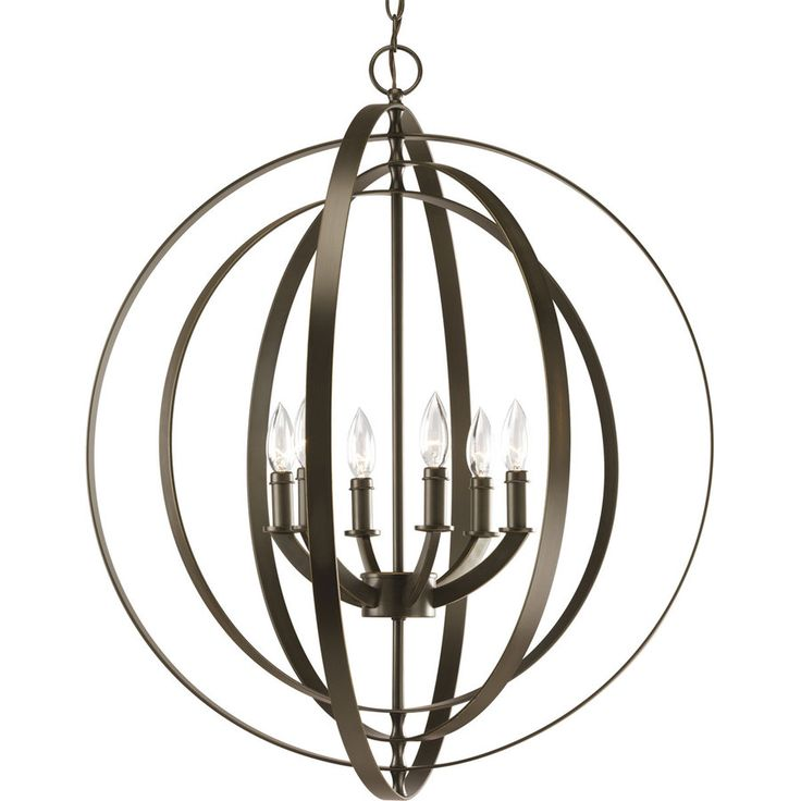 progress lighting equinoxsix light foyer antique bronze finish large pendant with rings inspired by ancient astronomy armillary spheres