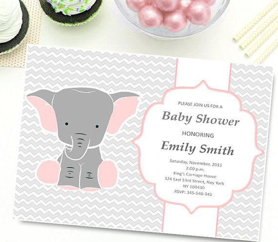 Elephant Baby Shower Invitation girl INSTANT by TheCutePaperStudio Baby Shower Invitations For Girls