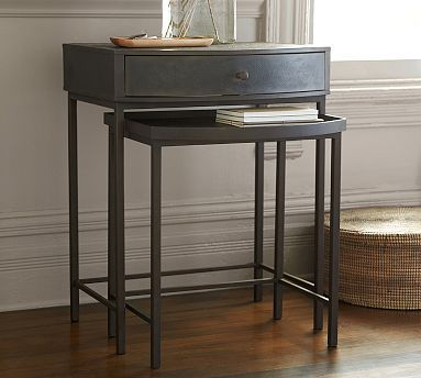 Woodrow Metal Nesting Bedside Table Potterybarn Living