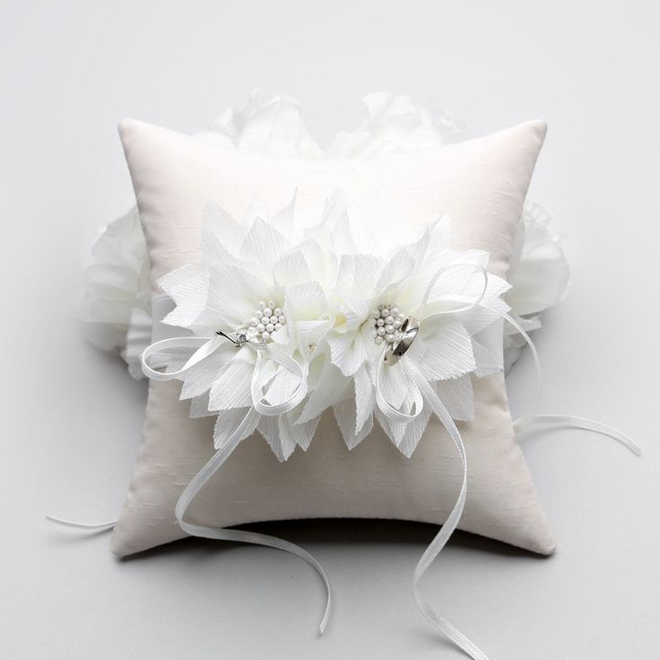 Ring Pillow - Wedding ring pillow, Flower ring pillow, bridal ring bearer pillow