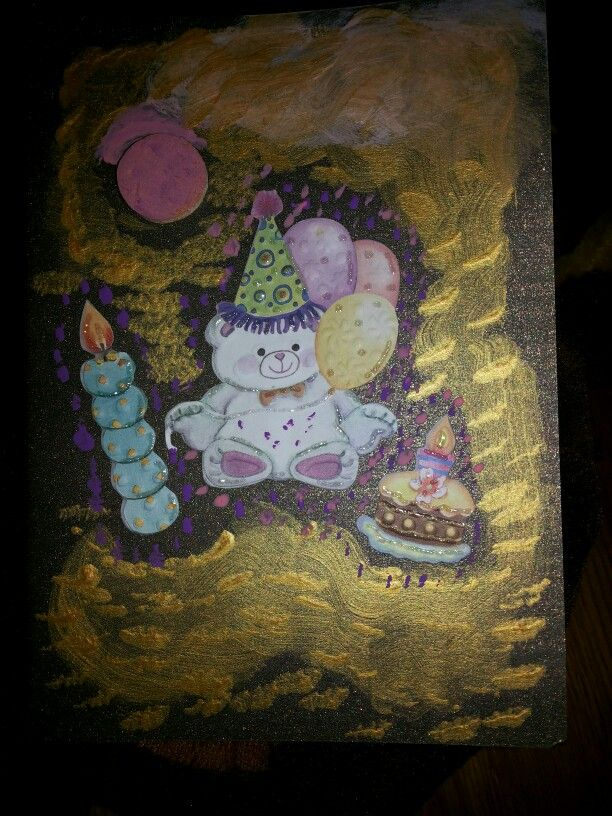 Christmas card with stickers and acrylic paint