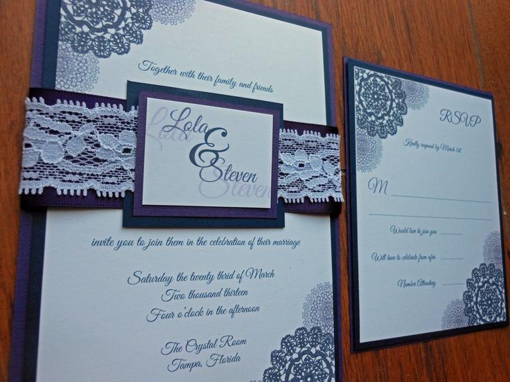 navy blue and purple lace wedding invitation 450 via etsy - Navy Blue Wedding Invitations