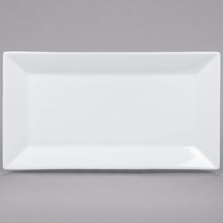 """For a trendy departure from traditional dinnerware, serve your menu items on this stunning Core 13"""" x 7 1/4"""" bright white rectangular platter! Its rectangular design is great for gourmet servings of your most popular appetizers, side dishes, and desserts. The perfect size for pastries, sushi rolls, and other starters, this porcelain platter combines simplicity and style. The rectangular shape is chic and contemporary, while the crisp white color brightens up any style or color ..."""