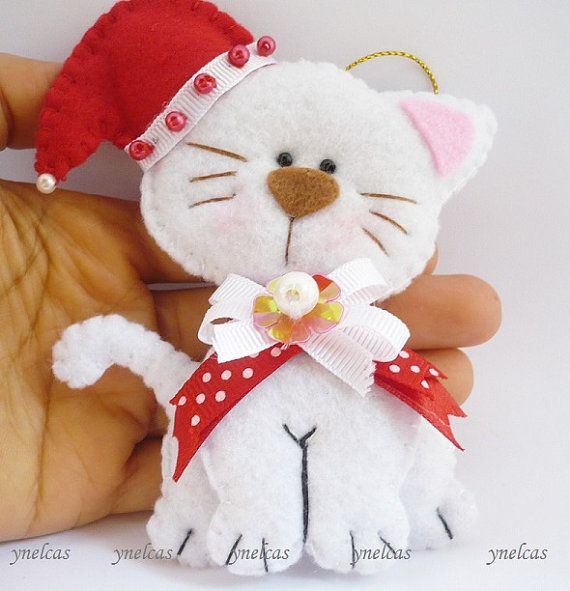1253 best felt cats and kittens images on pinterest felt for Cat christmas ornaments craft