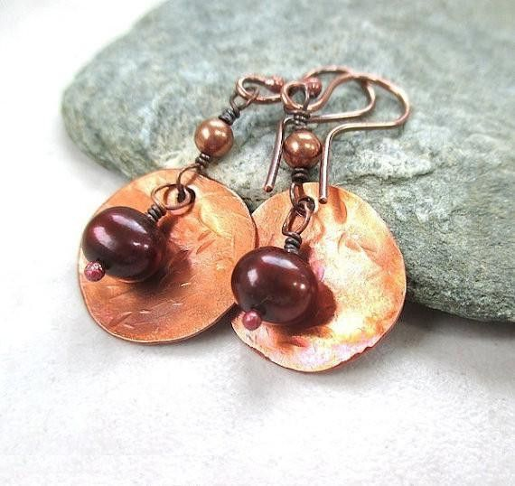 Bronze Pearl Earrings, Hammered Copper, Large Boho Gypsy Dangles, Rustic Primitive Metal Jewelry