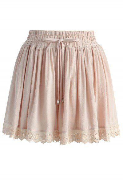 Tiny Sunflower Lace Trimmed Shorts in Nude