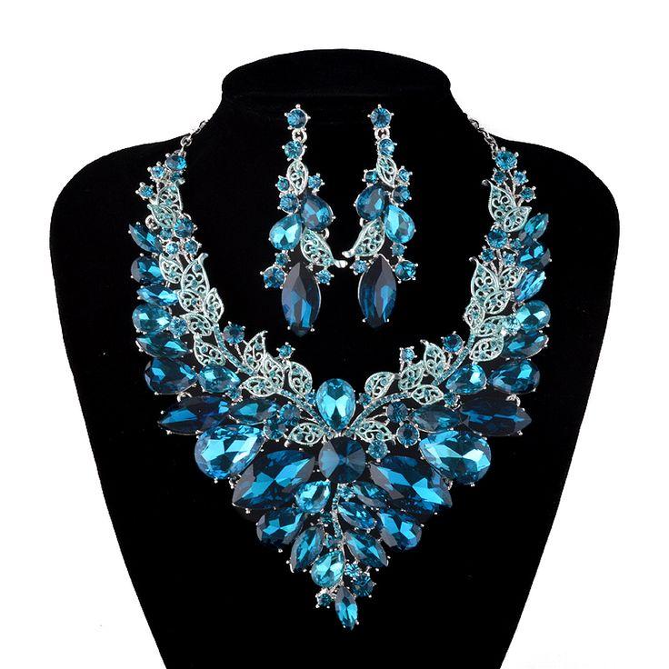 Style indien Bijoux bleu et champagne En Cristal Collier Boucles D'oreilles Ensembles de Bijoux de Mariée Pour Les Mariées Parti Accessoires De Mariage(China (Mainland))