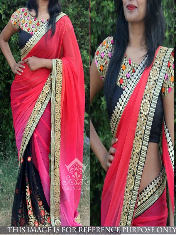 Offbeat Pink Georgette Designer Saree comes with black Color Banglory silk Blouse. It contained the Thread fancy work with lace border. The Blouse can be customized up to bust size 44