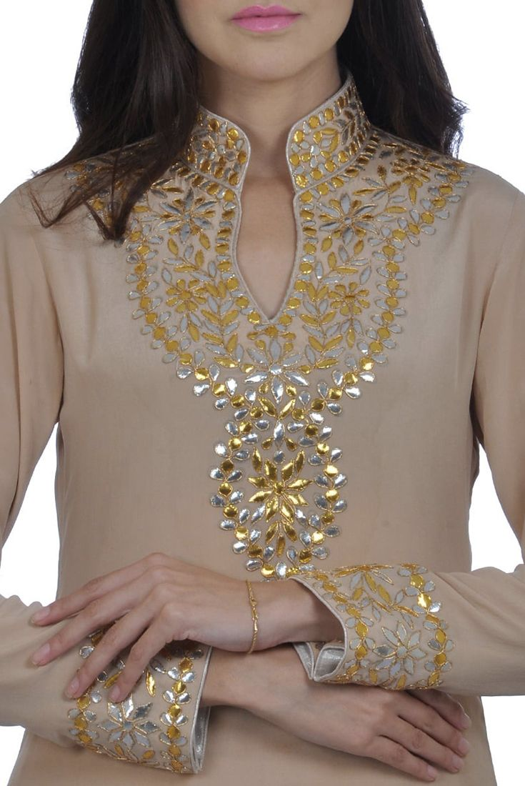 Hazelnut Hand Embroidered Gota Patti Pure Crepe Suit