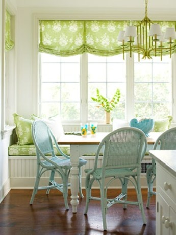green fabric & blue seating: Dining Room, Idea, Breakfast Nooks, Diningroom, Windowseat, Window Treatments, Kitchen, Window Seats