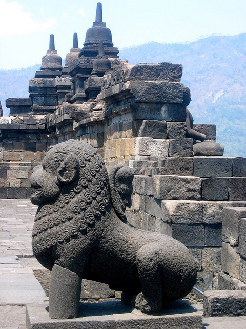 Borobudur temple - World heritage - is a 9th-century Mahayana Buddhist Temple in Magelang, Central Java, Indonesia.  The monument has of 6 square platforms topped by 3 circular platforms, and is decorated with 2,672 relief panels and 504 Buddha statues.  Built in the 9th century during the reign of the Sailendra Dynasty, the temple's design reflects India's influence on the region.  It also shows influence of Buddhism as well as Hinduism.