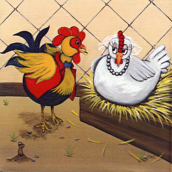 """""""Les poules se marient"""" 20 X 20 cm © Catherine MUSNIER"""