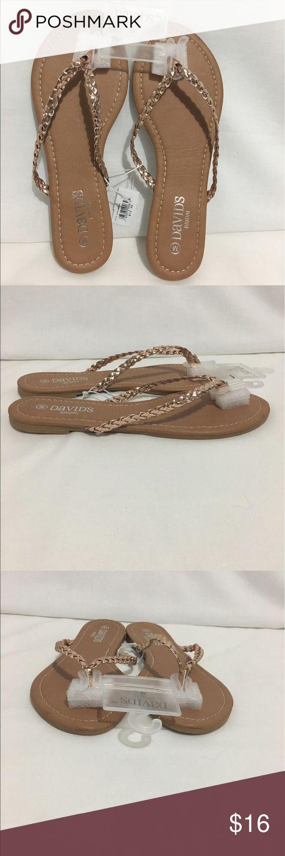 David's Bridal NWT Rose Gold Flip Flop Sandals NWT Size Medium Braided Rose Gold Sandals David's Bridal Shoes Sandals