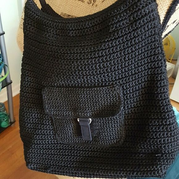 Really Cute Black Black Woven Crochet Hobo Bag In great condition! Black Hobo style woven crochet bag. No brand. It is very similar to the Sax crocheted bags in the feel and look. Bags Hobos