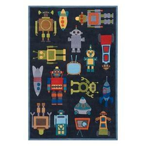 Nebraska Furniture Mart U2013 Momeni Lil Mo Whimsy Robots 4u0027 X 6u0027 Steele Blue