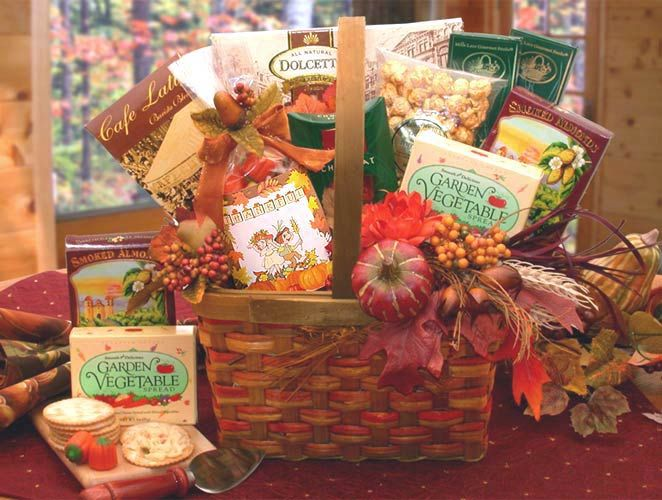 "Harvest Blessings Gourmet Fall  Café latte Mocha Mix  Dolcetto Vanilla Cream Pirrouline cookies  Creamy Garden Herb & Vegetable dip  Smoked Almonds  2 oz Crunchy Caramel corn  Stone Wheat Crackers 2 oz  Monbana French Chocolates  ""Thankful"" Pilgrims Harvest corn & Pumpkin Candy Corn Mix  Harvest Market basket  Harvest decorative Plant Pick"