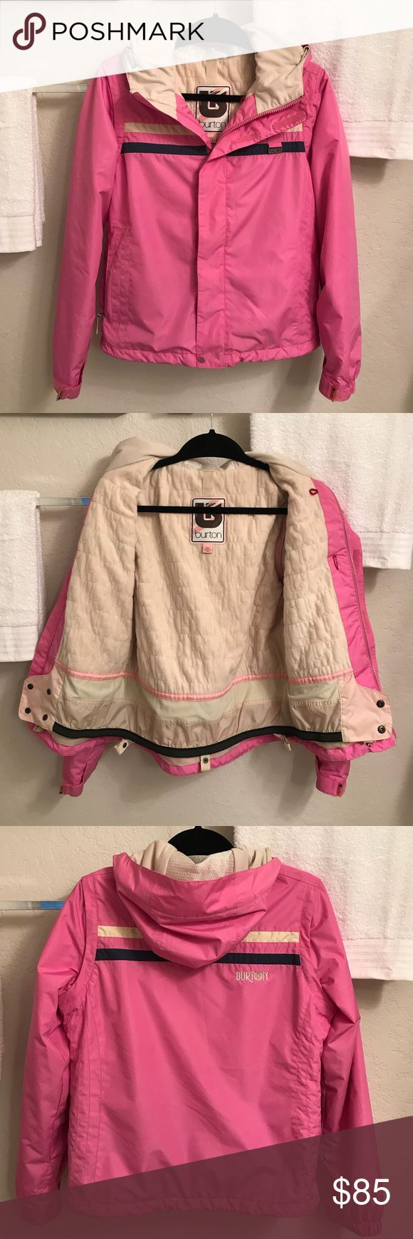 Burton Snowboard Jacket This pink jacket is fully lined, has a zipper/Velcro front closure, is hooded, has 2 bottom side zipper pockets, has stripes on the front & back with the logo.  This jacket is in excellent condition(only flaw is tiny stains on both bottom sleeves. . Not Very visible) .  The chest measures 42 inches & the length is 25 inches long. Burton Jackets & Coats