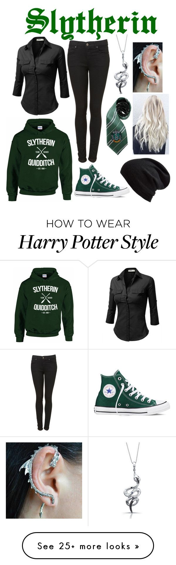 """""""Slytherin"""" by cheshirecatin-neverland on Polyvore featuring J.TOMSON, Echo, Victoria Kay and Converse"""