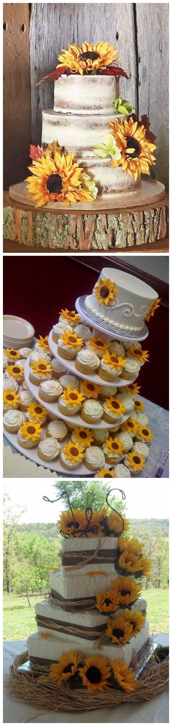 Bold Country Sunflower Wedding ideas #weddings #weddingideas #weddingflowers #cakes