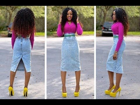 DIY how to turn jean pants into a pencil shirt