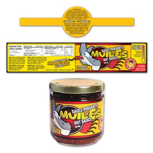 KidPreneurs Muil-E's Hot Sauce logo and label design | 3H Communications Inc.