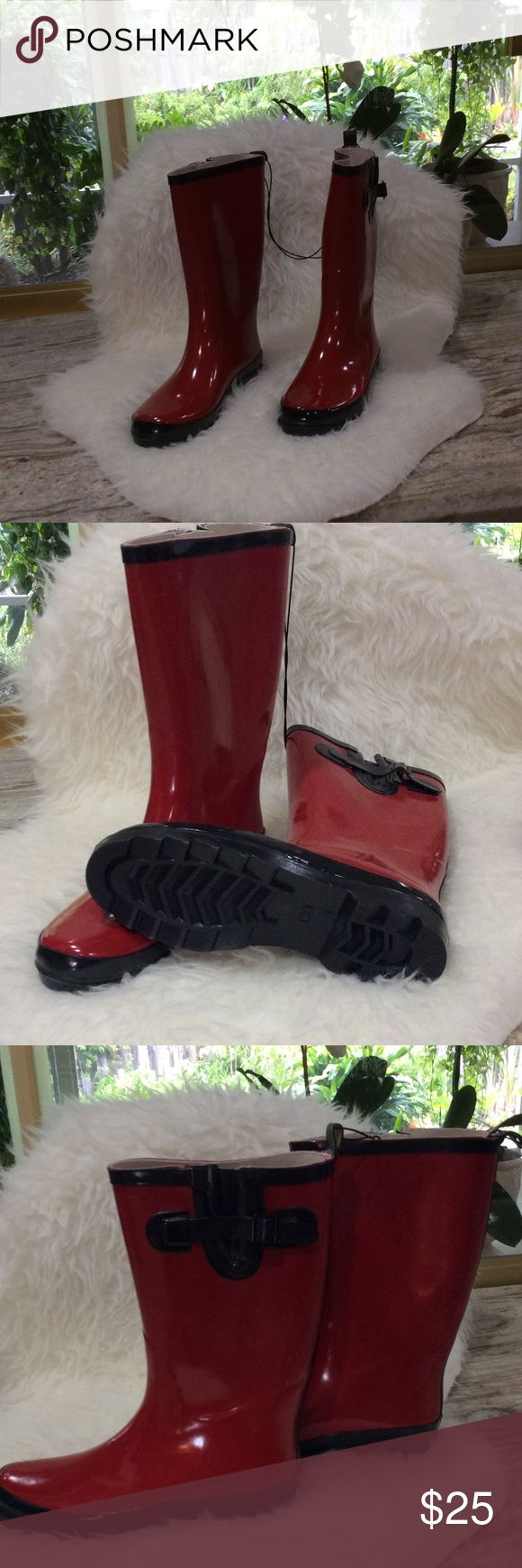 Ladies Rain Boots. NWOT. Red w  beautiful black trim, see black buckle trim on outer-sides of each boot. Water resistant w Flexible outsole.  Botas de Lluvia para mujer. Never worn. Serra Shoes Winter & Rain Boots