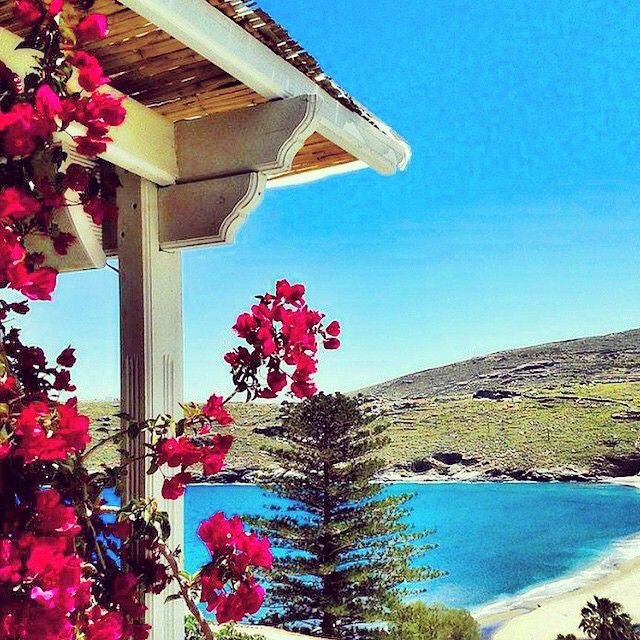Lovely cycladic balcony , in Andros island (Άνδρος) . Beautiful flowers and stunning view to the beach .