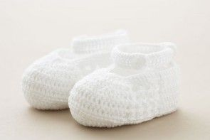 Christening Baby Shoes White Cotton Crochet with strap and button SC64W