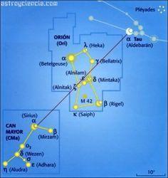 Localizar la constelación de Orión (Ori),  la constelación del Can Mayor (CMa) y la de Tauro (Tau)
