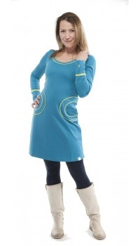 Aquablauw jurkje ronde zakken