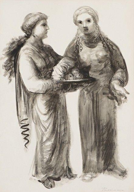 Procházka Antonín (1882-1945) | Dívky s mísou ovoce | Aukce obrazů, starožitností | Aukční dům Sýpka