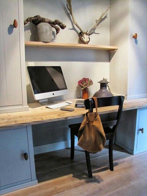 de kleur voor de muur en de kasten Mooie indeling voor administratie hoekje ergens in huis