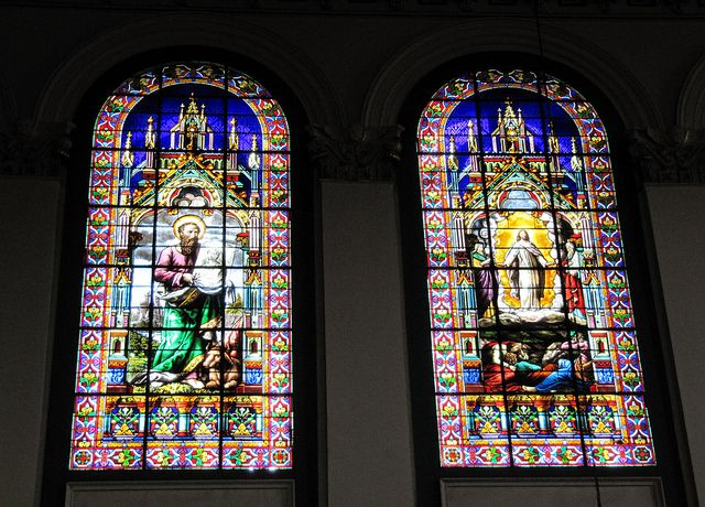 Stained Glass Windows inside Basilica Cathedral of St. John the Baptist in St. John's, Newfoundland, Canada.