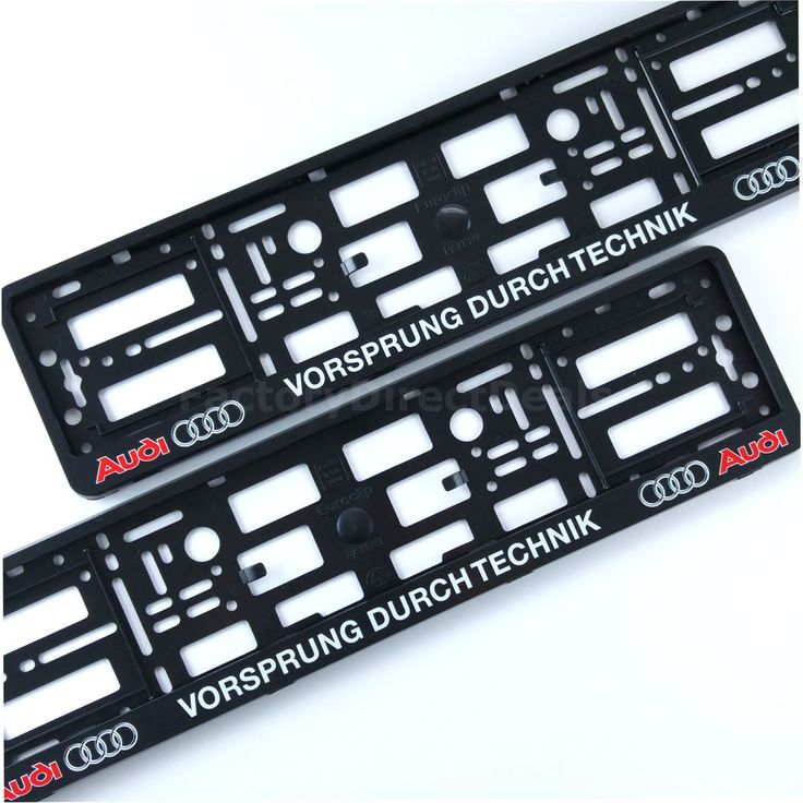 PAIR AUDI VORSPRUNG DURCH TECHNIK NUMBER PLATE SURROUNDS HOLDER FRAME FOR CARS in Vehicle Parts & Accessories, Car Parts, Exterior & Body Parts | eBay