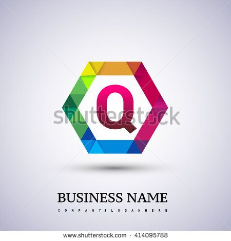 Q Letter colorful logo in the hexagonal. Vector design template elements for your application or company logo identity. - stock vector
