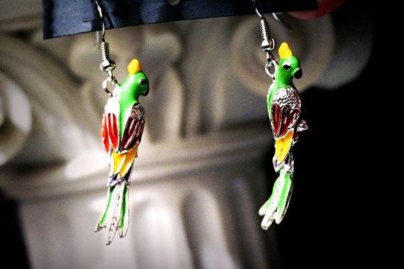 Хиппи шик бохо украшение серьги птица попугай одежда для фестиваля Ибица Бали подарок девушке на свадьбу день рождения годовщину юбилей