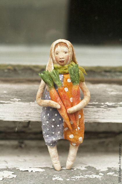 Ватная игрушка на ёлку Заяц с морковками - заяц,дети,ватное папье-маше