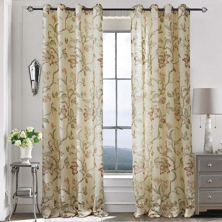 Anady Top Set of 2 Panels/Pair Beige Drapes Elegent Red Vine Flower and Green leaf Beauty Summer Nature Scenery Lined Curtains Grommet Top,100W by 84L-Inch Each Panel Extra Wide