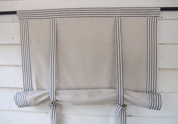 """Black Ticking 72"""" Long Roll Up Window Shade Mitered Banding Tie Up Rolled Curtain"""