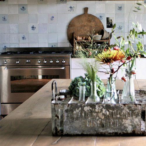 Bloemen in de keuken
