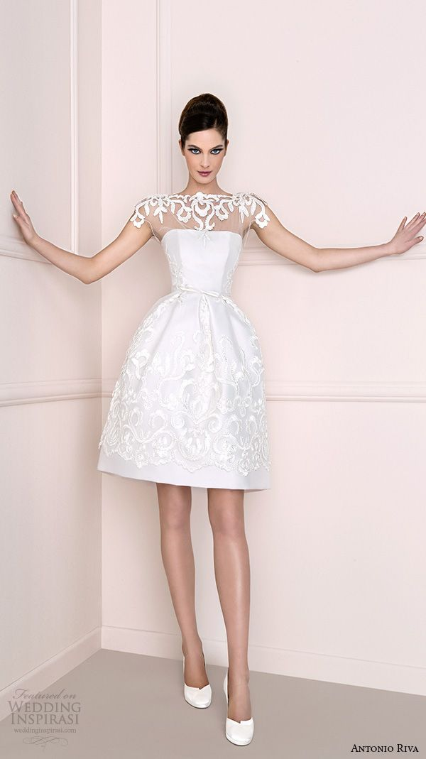 antonio riva 2016 bridal dresses illusion bateau neckline with lace pretty mini skirt short wedding dress helena corto