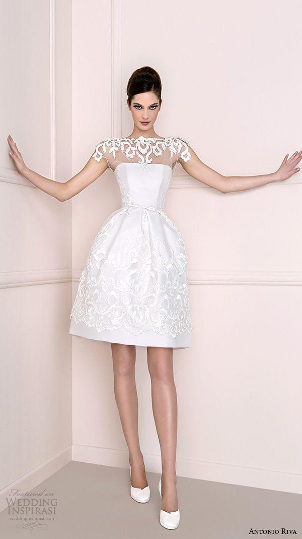 antonio riva 2016 bridal dresses illusion bateau neckline with lace pretty mini skirt short wedding dress helena corto