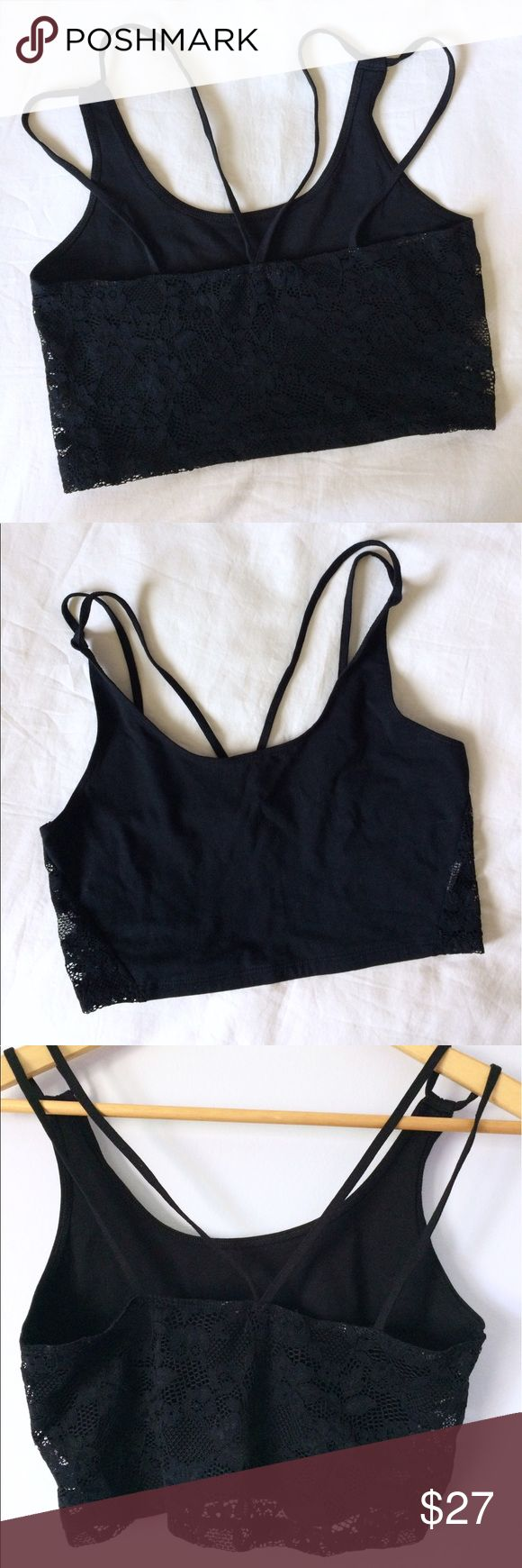 AE crochet lace back bra top Lace back bra top/crop cami from AE. Like new condition! Only worn once for a couple hours, and the inside tag was cut off to get rid of scratchiness, besides that no flaws at all and in perfect condition! Super cute to layer under tanks, I just have no use for it so someone else should have it! American Eagle Outfitters Tops Crop Tops